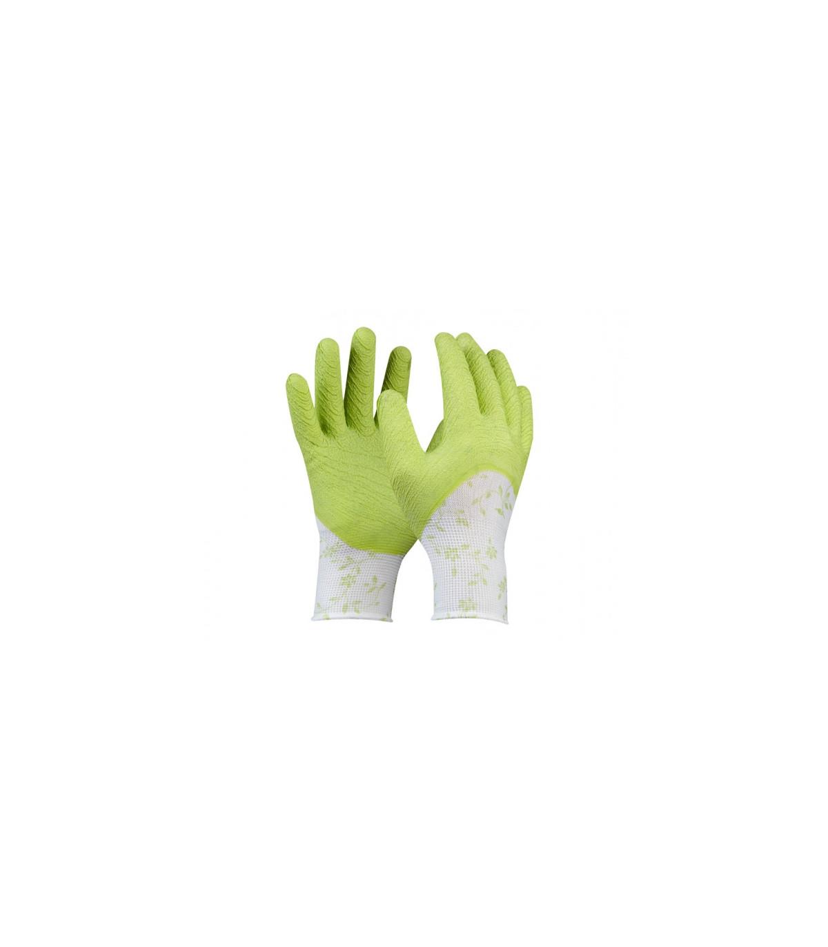 Pracovné rukavice dámske zelené - veľkosť 7 - Flower - 1 pár