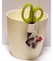 Kvetináč na bylinky s nožnicami - biela farba - 1,25 l